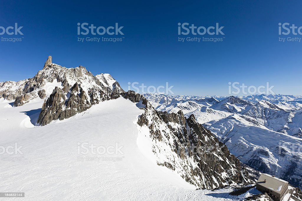 At Pointe Helbronner, Mont Blanc Massif stock photo