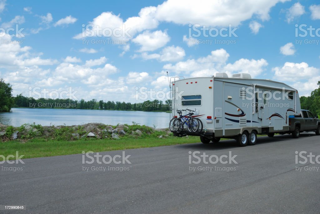 RV at River stock photo