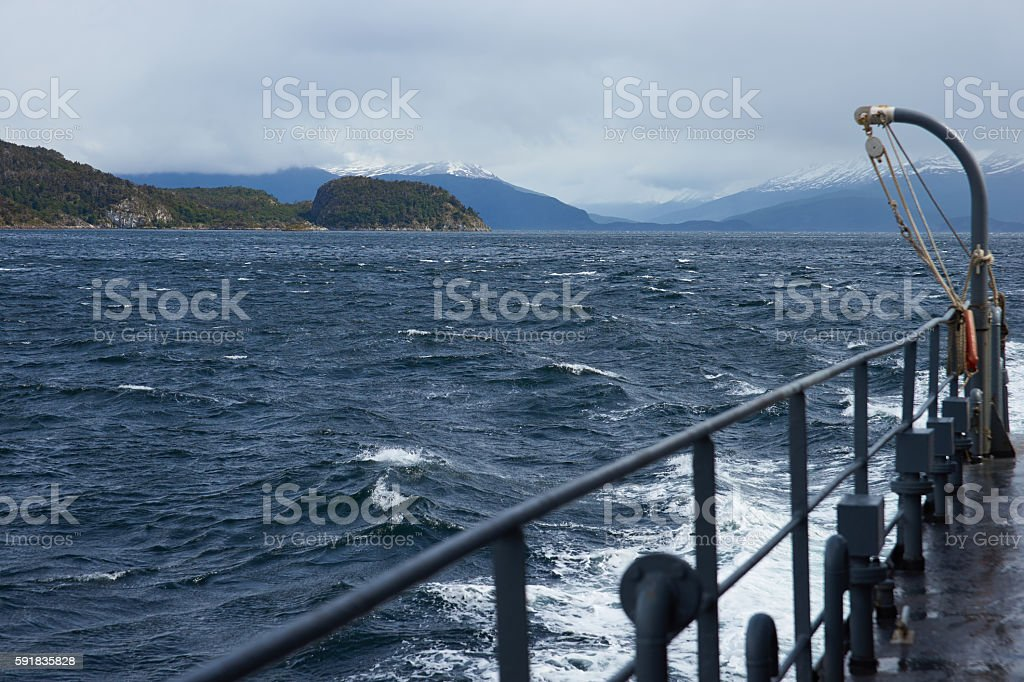 At sea in the Beagle Channel stock photo