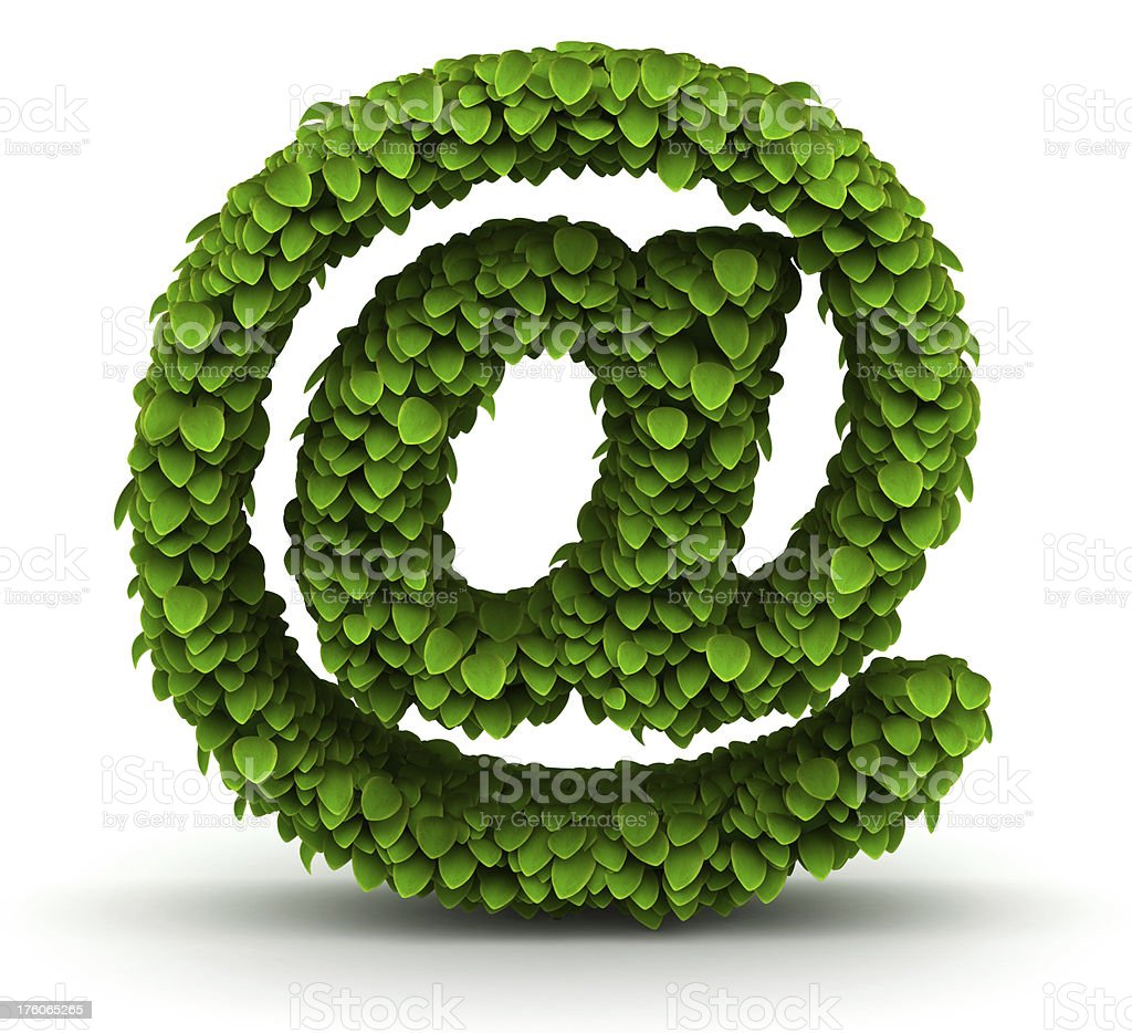 at sign, green leaves font stock photo