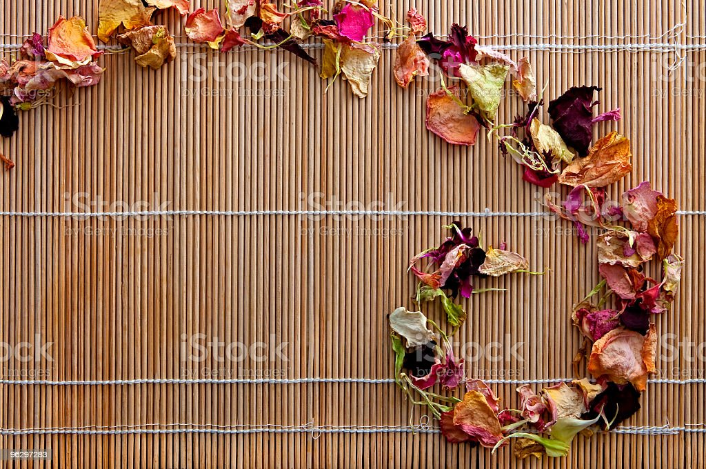 At SPA, Dried Flowers on the Bamboo, with Copyspace royalty-free stock photo