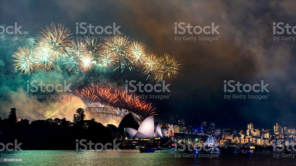 NYE at Sydney Opera House with Harbor Bridge in background stock photo