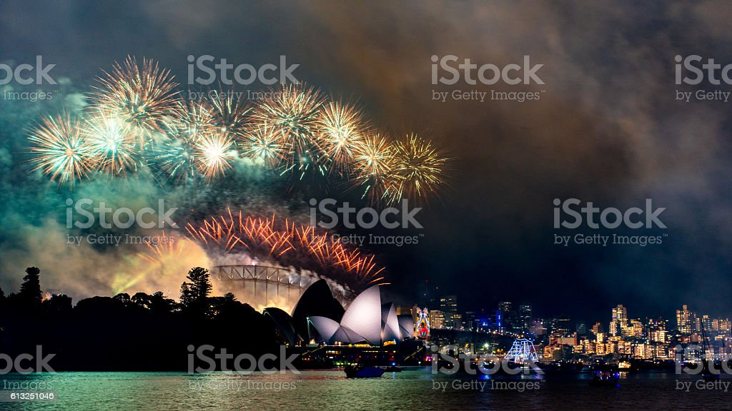 NYE at Sydney Opera House with Harbor Bridge in background stock photo