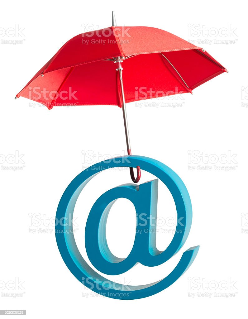 At symbol underneath red umbrella on a white background stock photo
