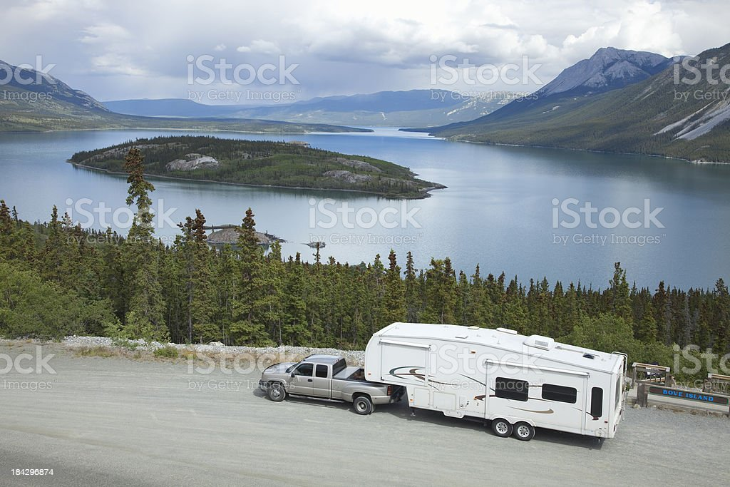RV at Tagish Lake's Bove Island Overlook near Carcross Yukon royalty-free stock photo