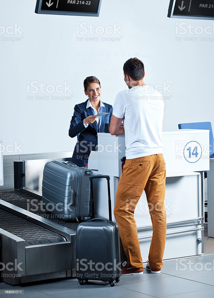 At the airport check in counter stock photo