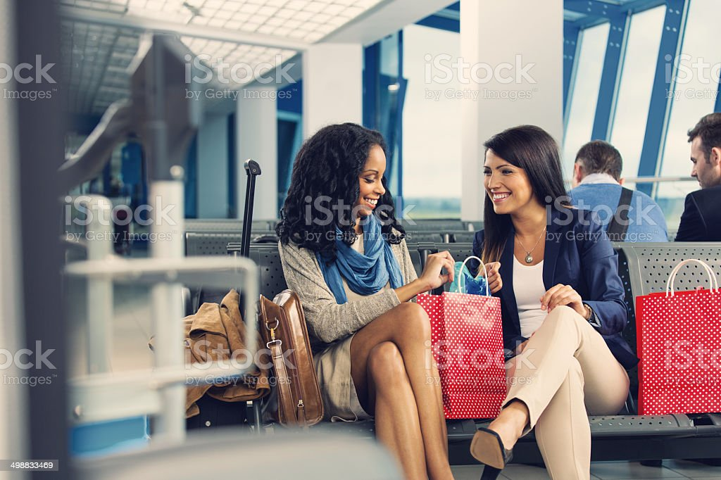At the airport lounge stock photo