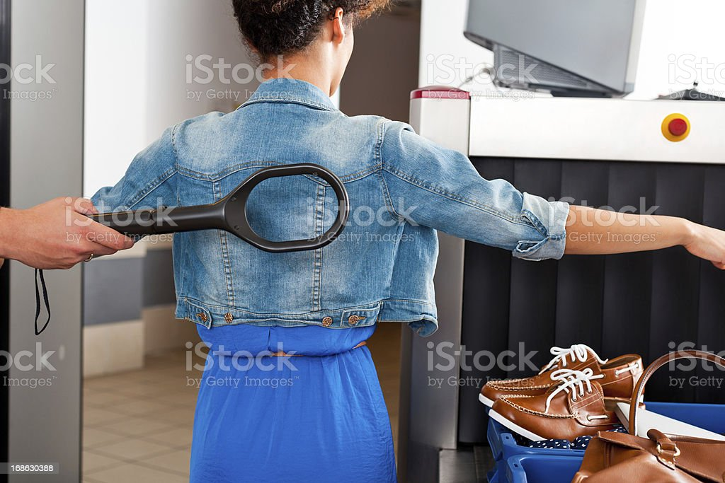 At the airport security check stock photo