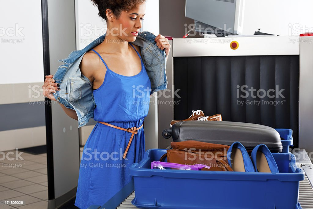 At the airport security check royalty-free stock photo