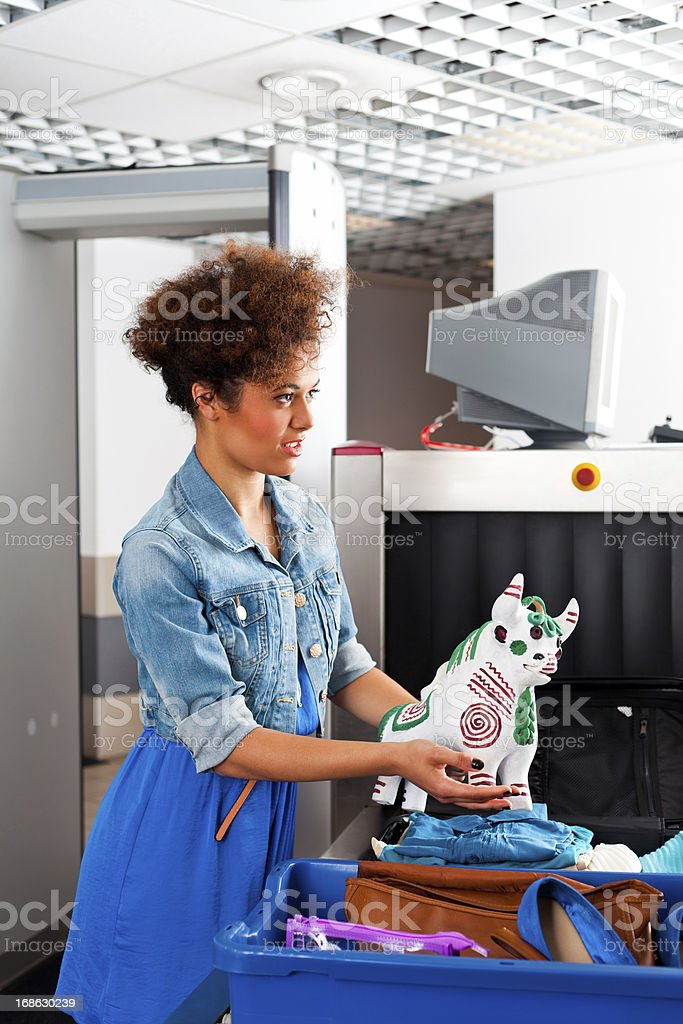 At the airport security checkpoint stock photo