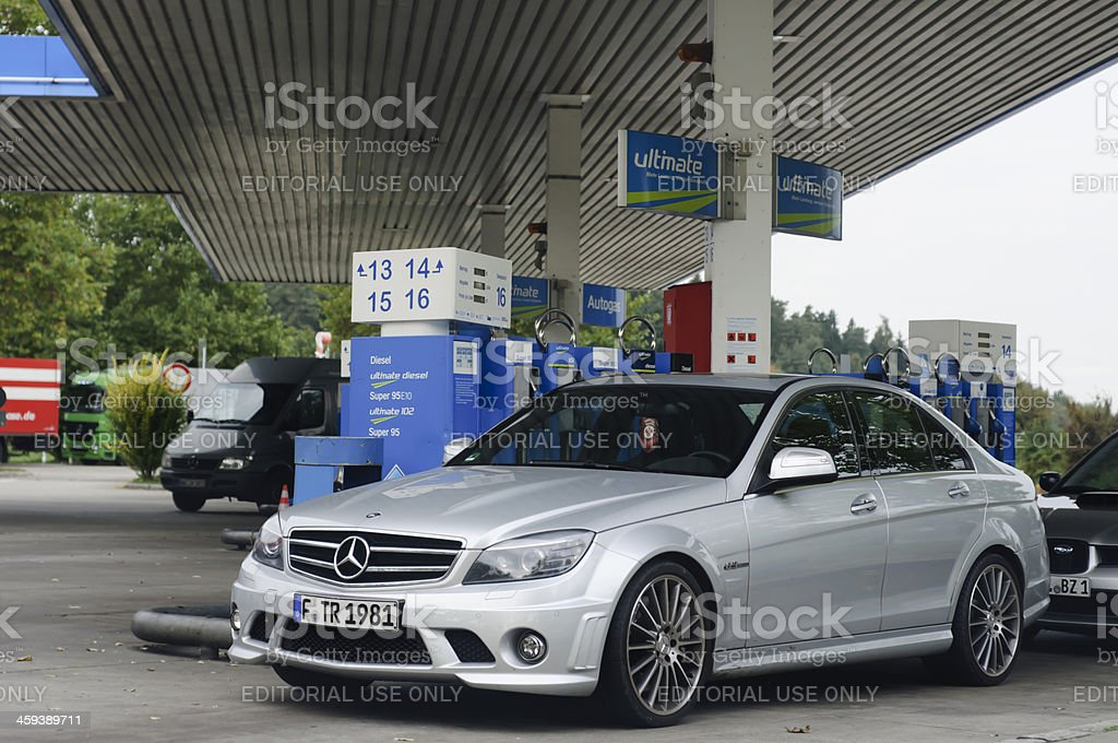 C 63 AMG at the ARAL petrol station stock photo