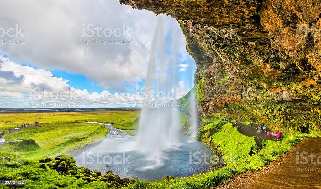At the back of Seljalandsfoss waterfall - Iceland stock photo