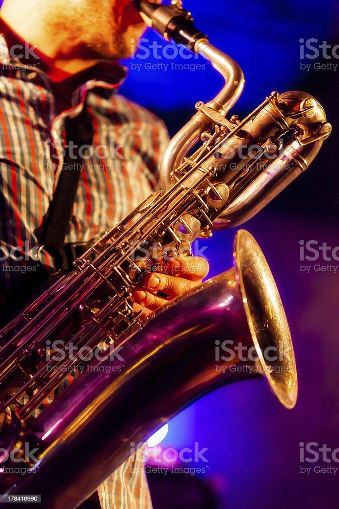 At the baritone sax royalty-free stock photo