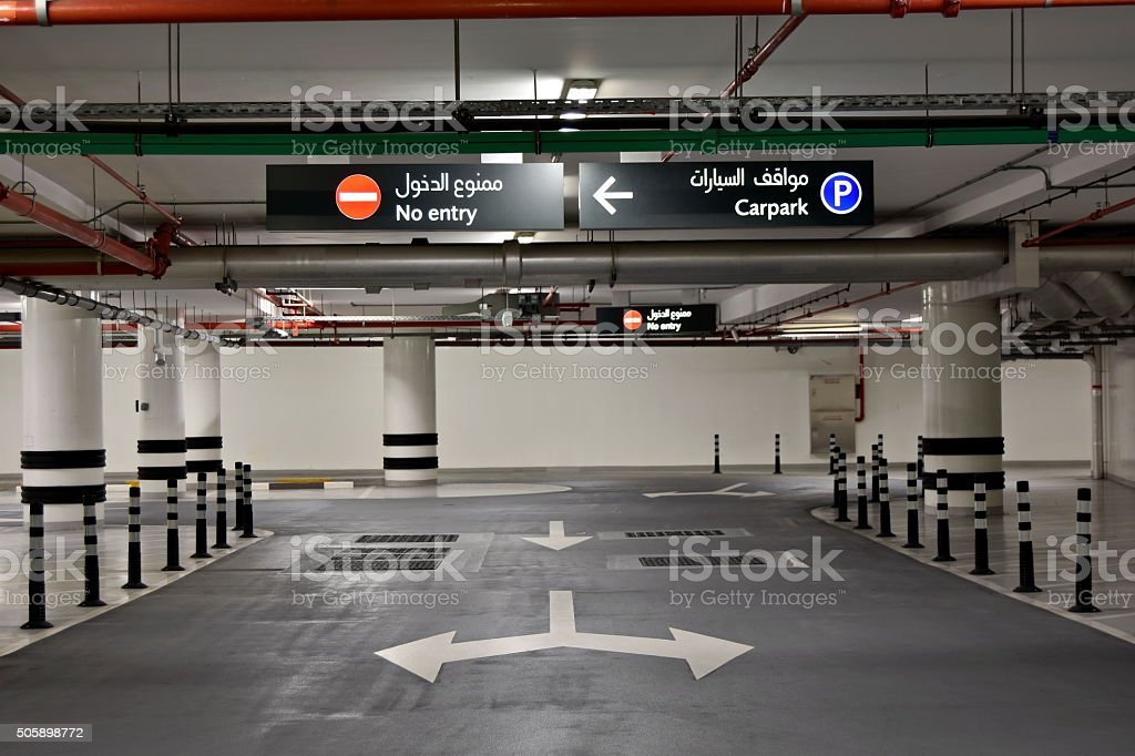 At the Basement Parking, carpark with signboard and details stock photo