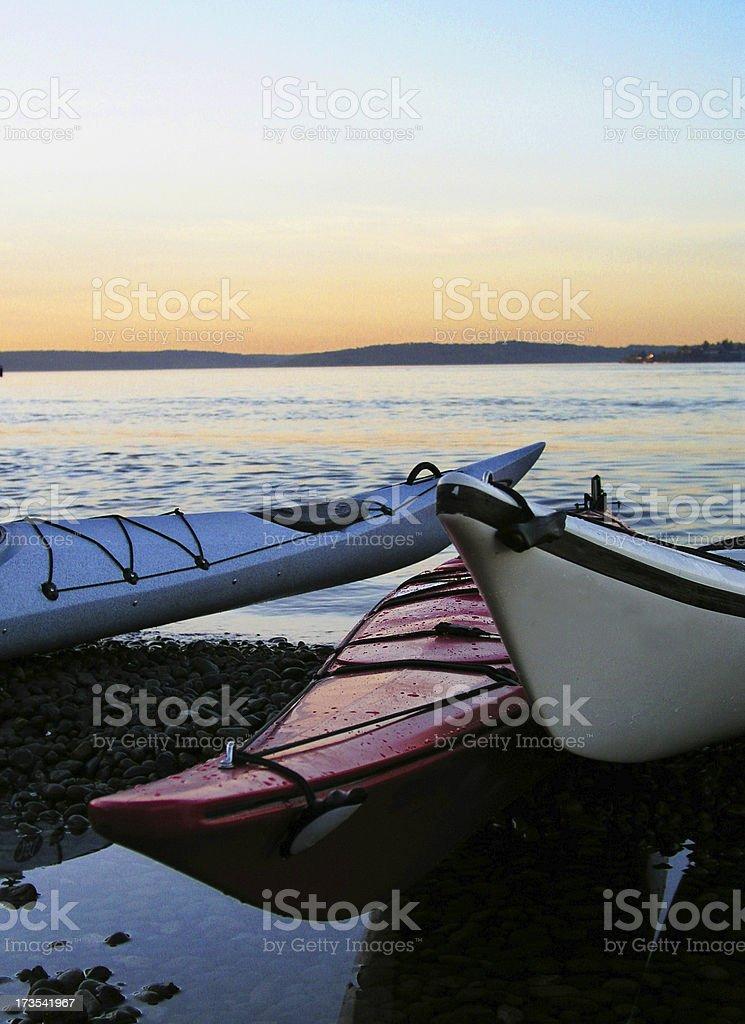 At the Beach - kayaks stock photo