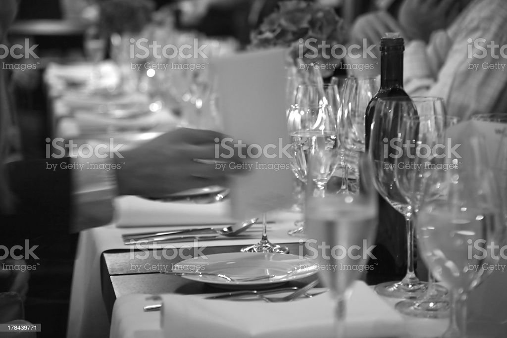 at the beginning of official dinner in restaurant stock photo