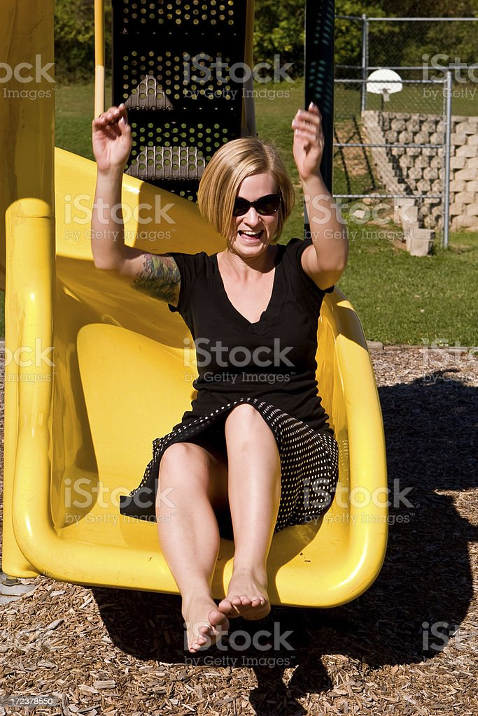 at the bottom of a slide royalty-free stock photo