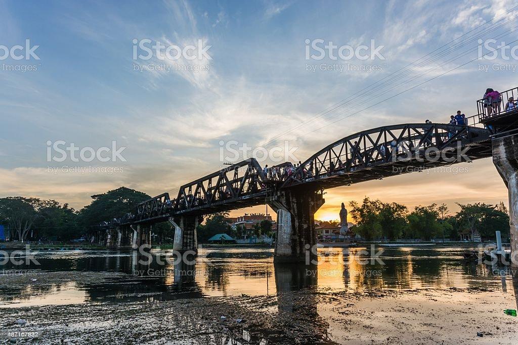 at the bridge of the river kwai in kanchanaburi thailand stock photo