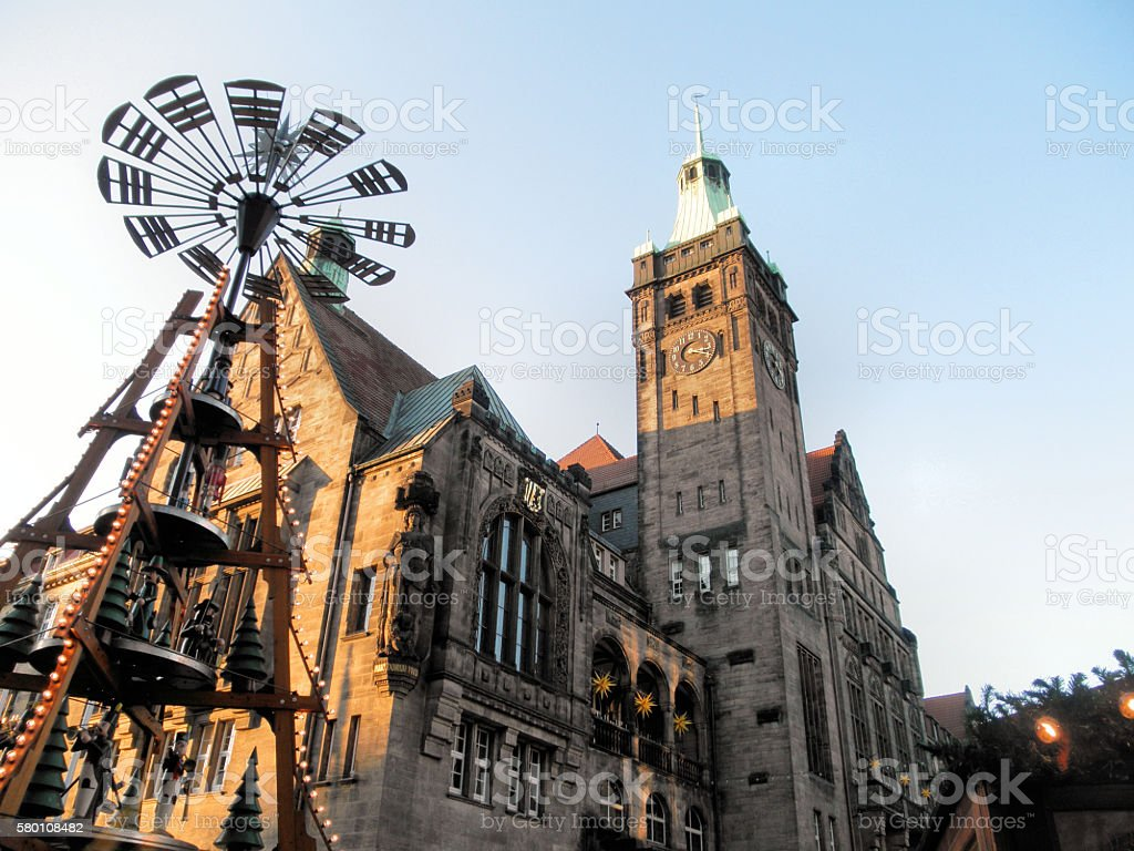 At the Christmas market in Chemnitz stock photo