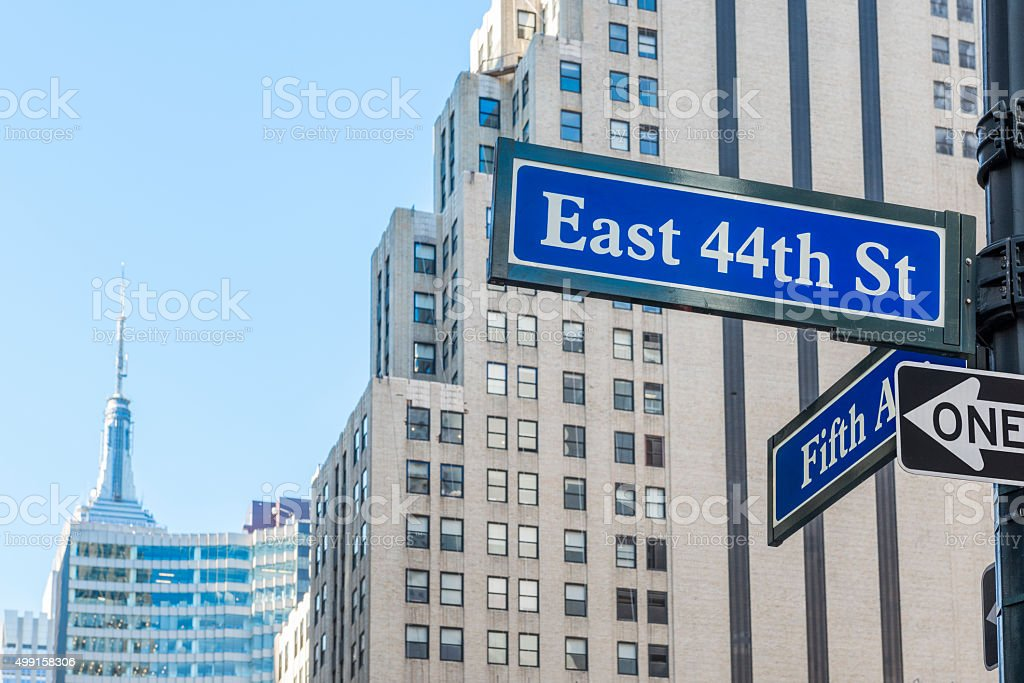 At the corner of 5th Avenue and East 44th Street stock photo