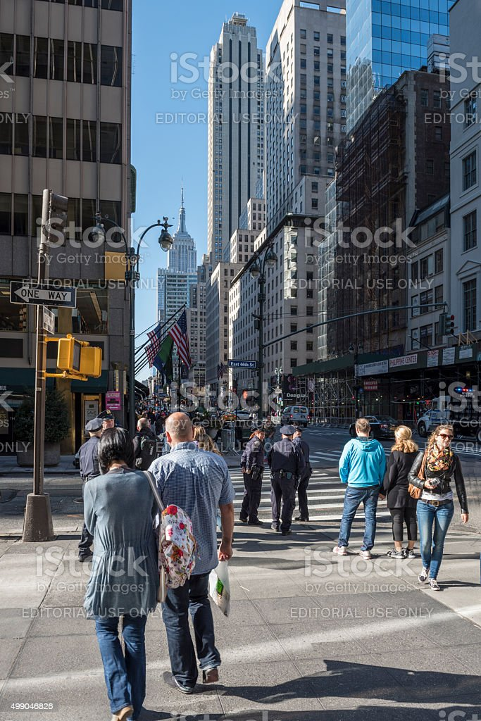At the corner of 5th Avenue and East 46th Street stock photo