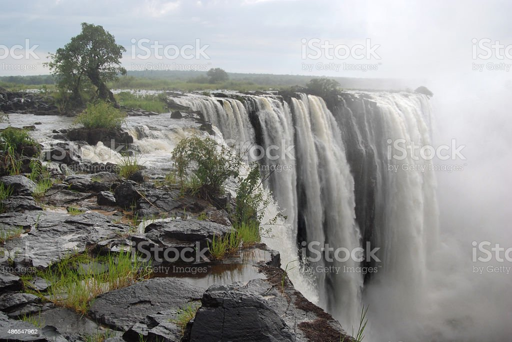 At the edge of Victoria Falls stock photo