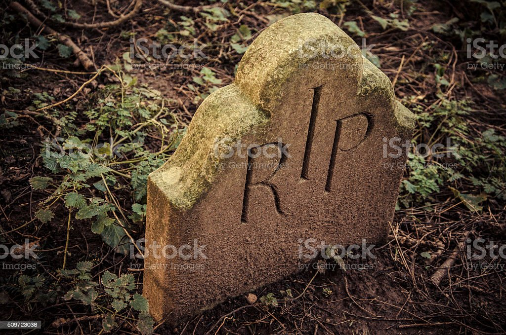 At the End - RIP engraved on tomb stock photo