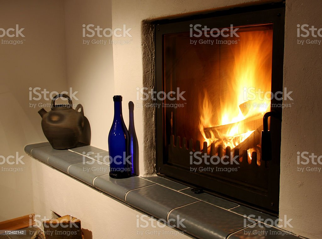 at the fireplace royalty-free stock photo
