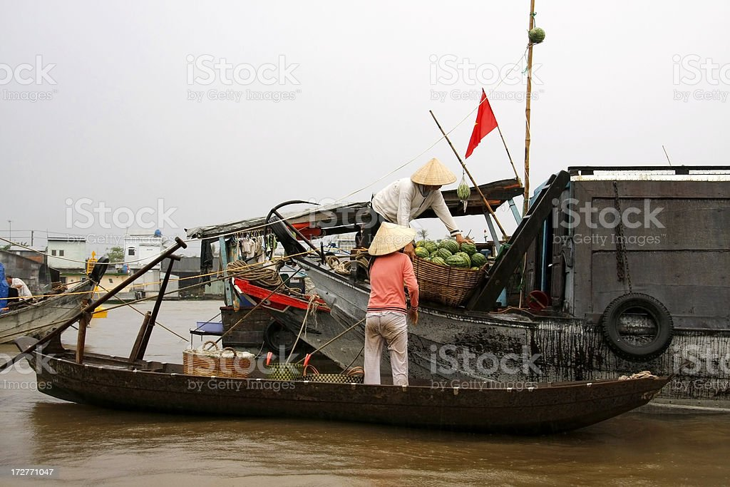 At the floating market stock photo