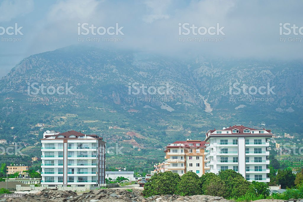 At the foot of the mountains stock photo