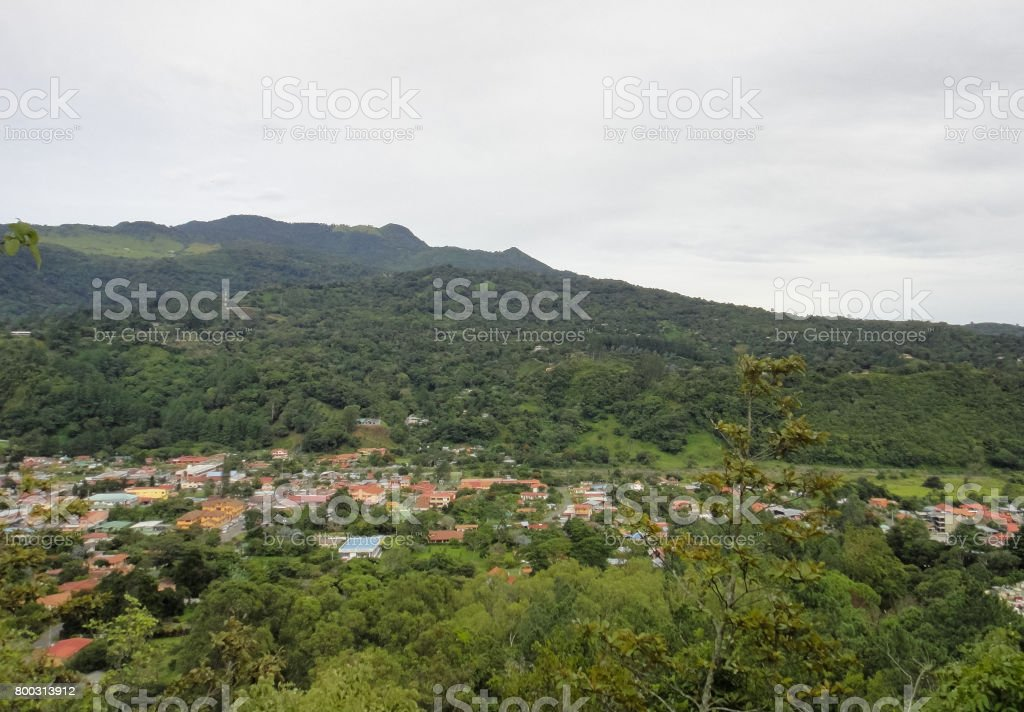 At the foot of volcano Baru. Mountain jungle of Panama. Boquete neighborhoods. Province of Chiricui. Central America stock photo