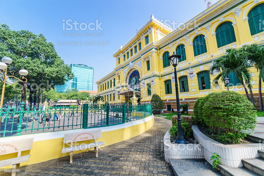At the front of the Saigon central post office stock photo