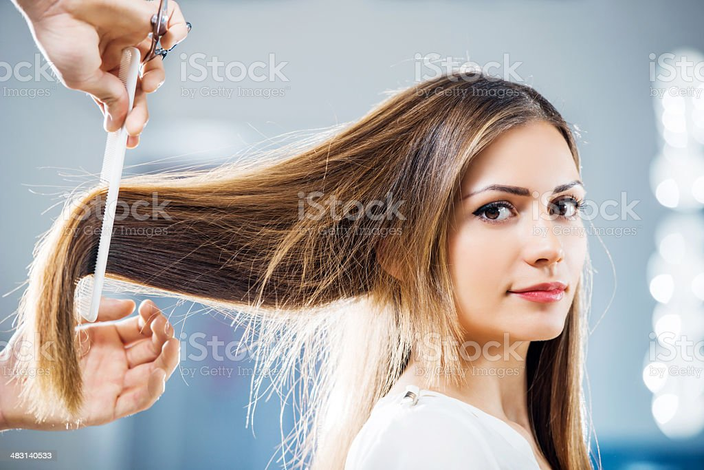 At the hairdresser's. stock photo