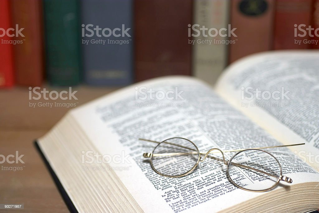 At The Library (Book & Glasses) royalty-free stock photo