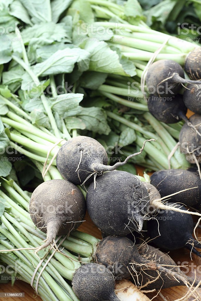 at the market: black radishes royalty-free stock photo
