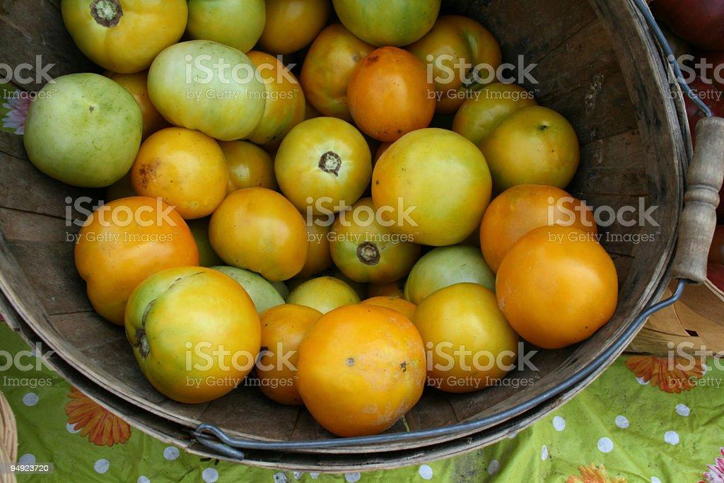 at the market: lemon tomatoes royalty-free stock photo