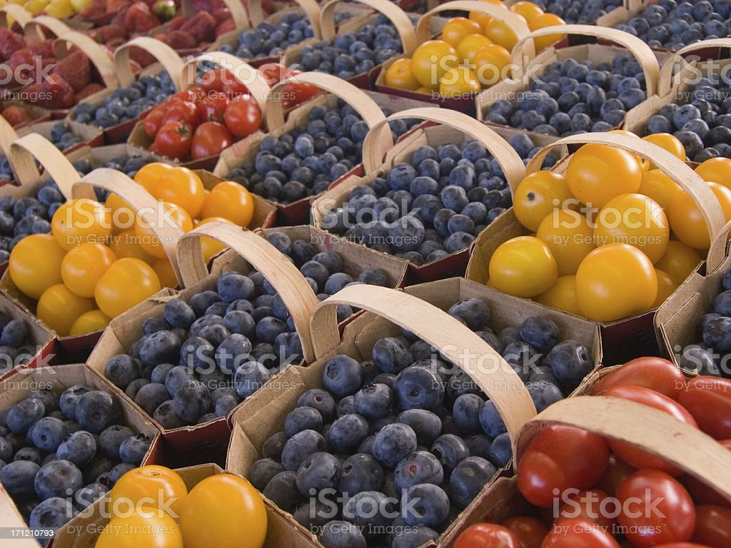 At the Market : Tomatoes & Blueberries royalty-free stock photo