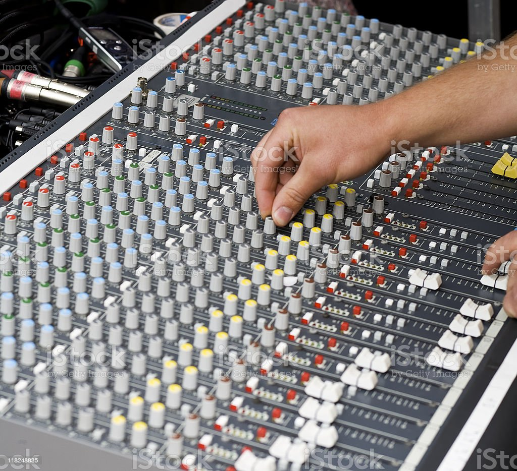 At the mixing desk royalty-free stock photo