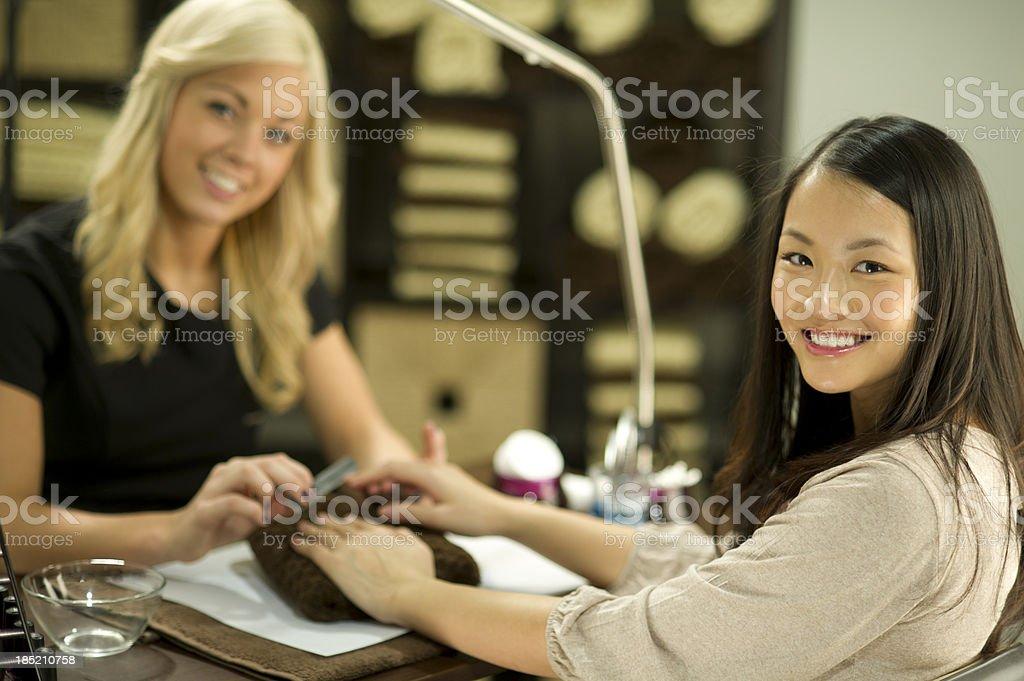 at the nail salon stock photo