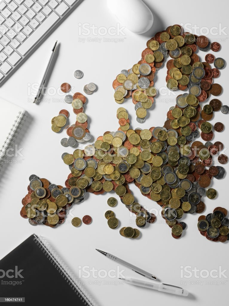 At the Office with Map of Europe made in Euros royalty-free stock photo