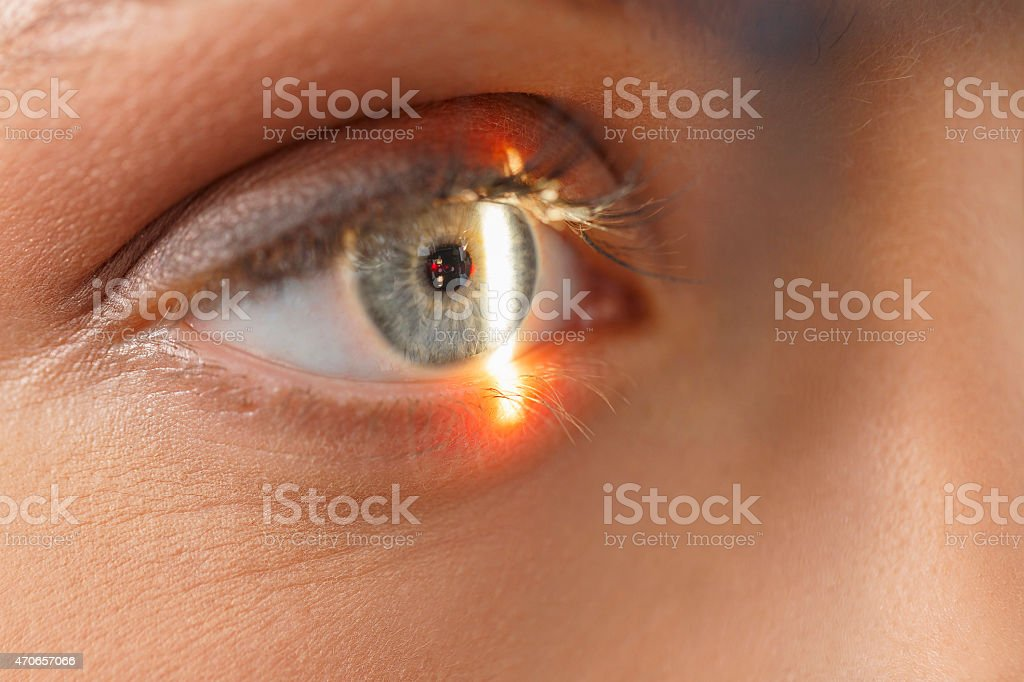 At the optician   Ophthalmology     Optometrist medical eye examination stock photo