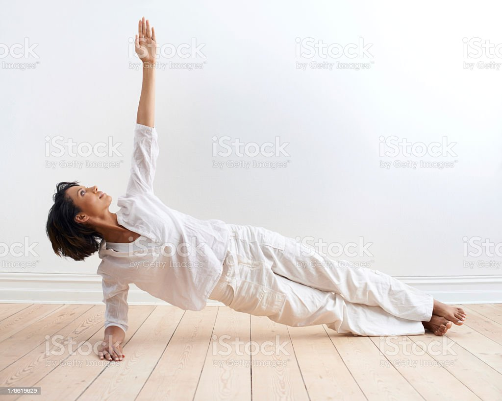 At the peak of her health and fitness royalty-free stock photo