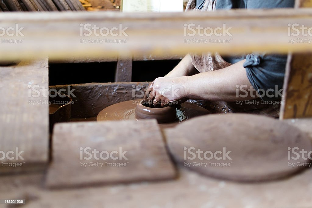 At the potter's wheel stock photo