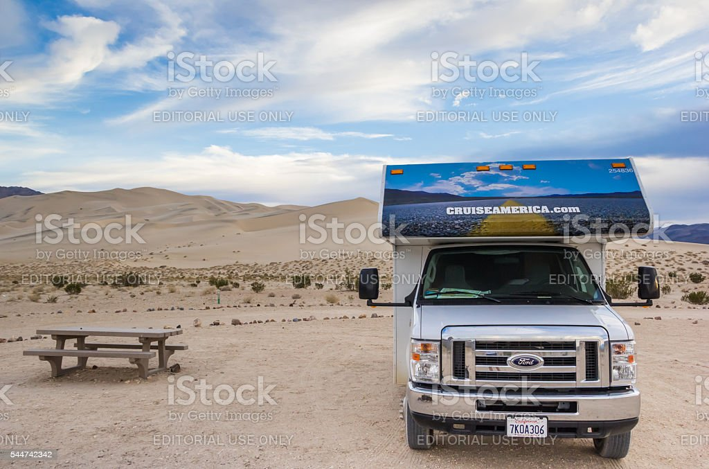 RV at the sand dunes in Death Valley stock photo