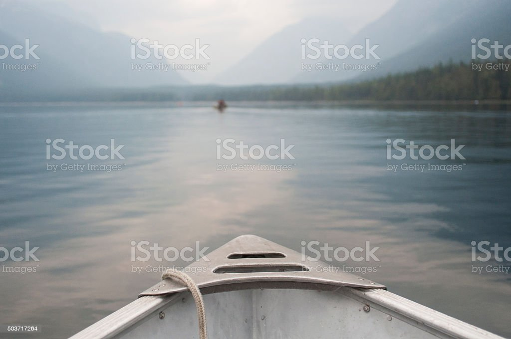 At the tip of the motor boat stock photo