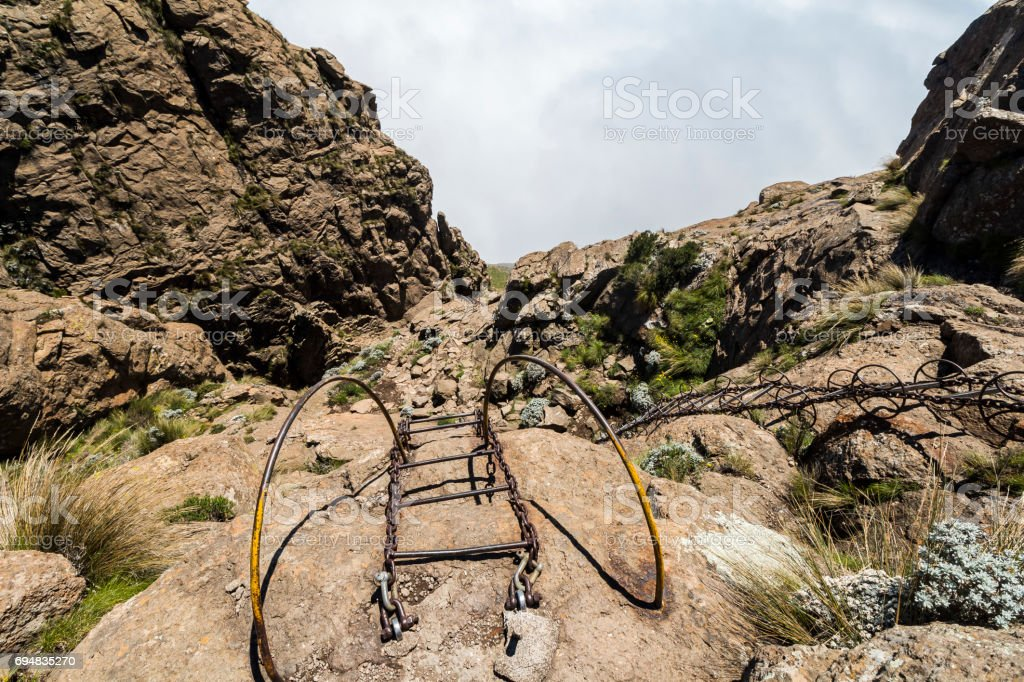 At the top of the chain ladders, Sentinel Hike, Drakensberge stock photo
