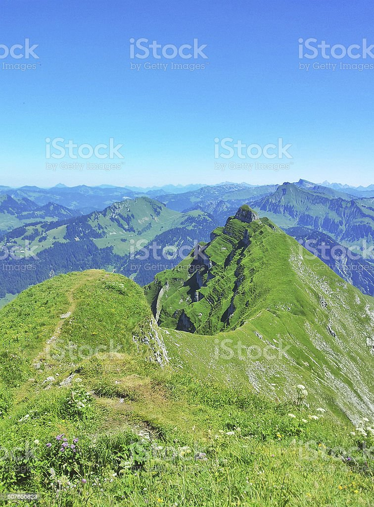 At the top of the mountain Kanisfluh stock photo