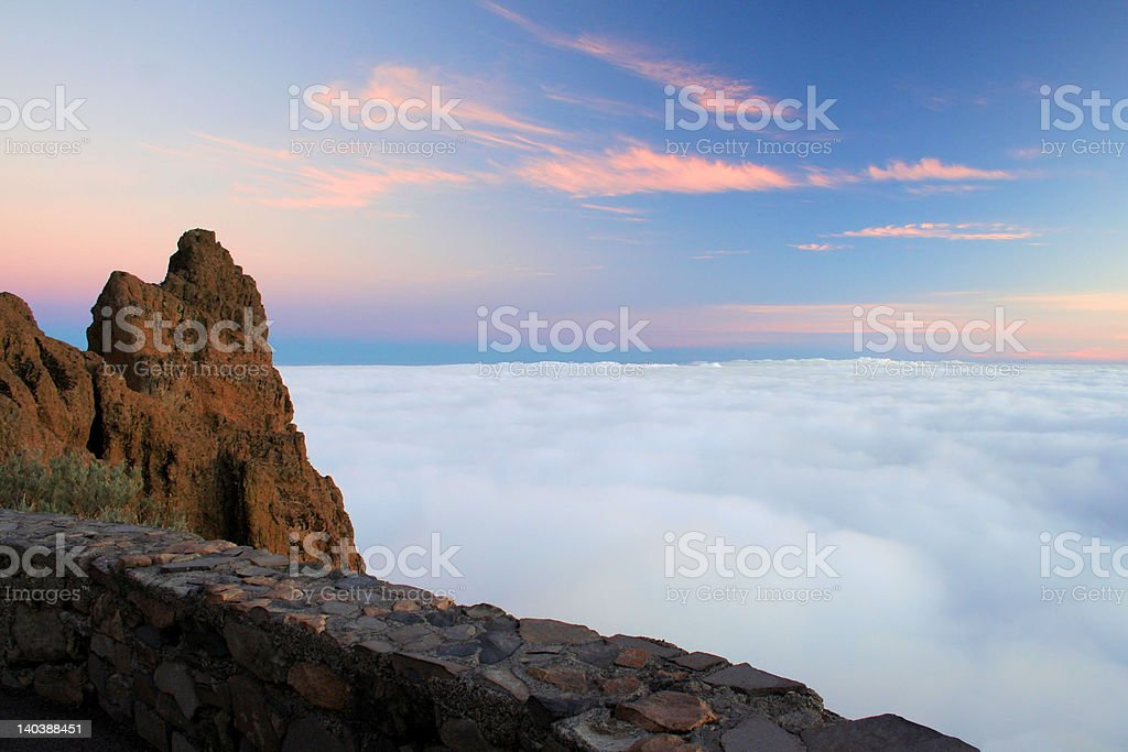 'At the top of world', mountain between clouds royalty-free stock photo