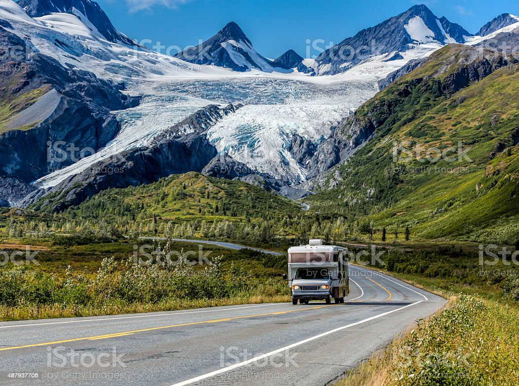 RV at Worthington Glacier stock photo