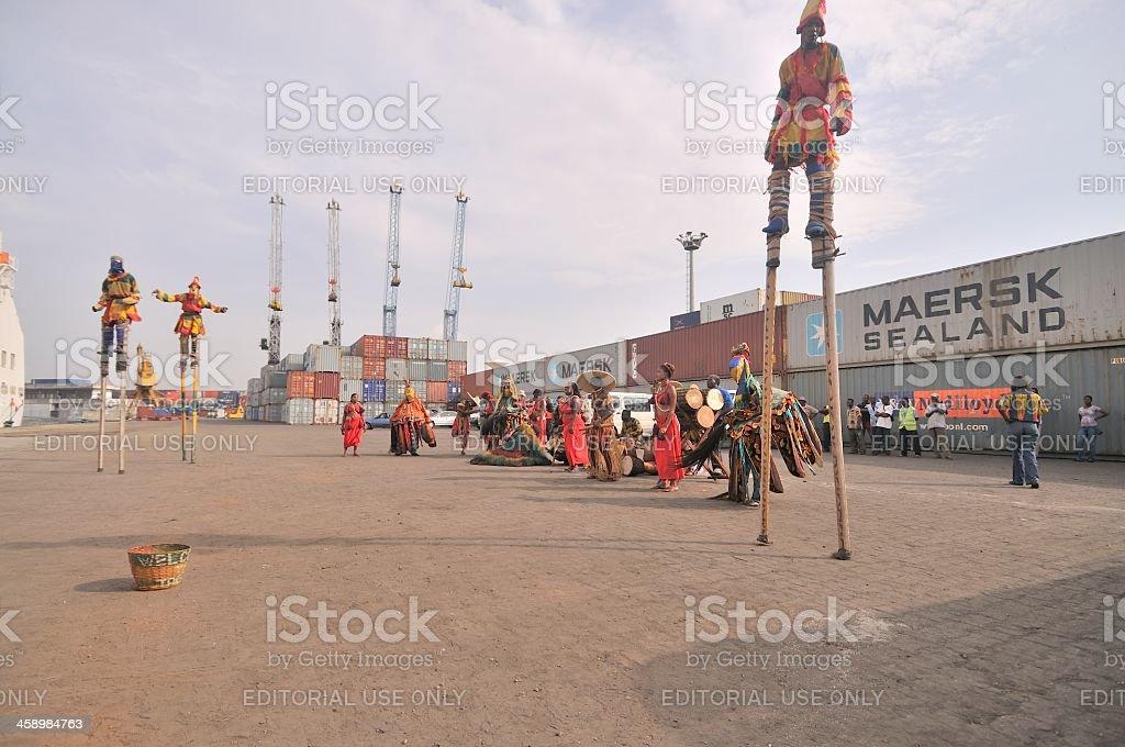 Atakpame Stilt Dancers In Togo stock photo